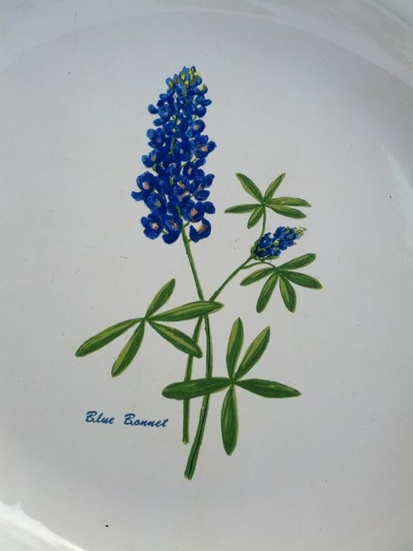 blue bonnet white granite ware serving plate spring time floral flower table decoration kitchen utensil