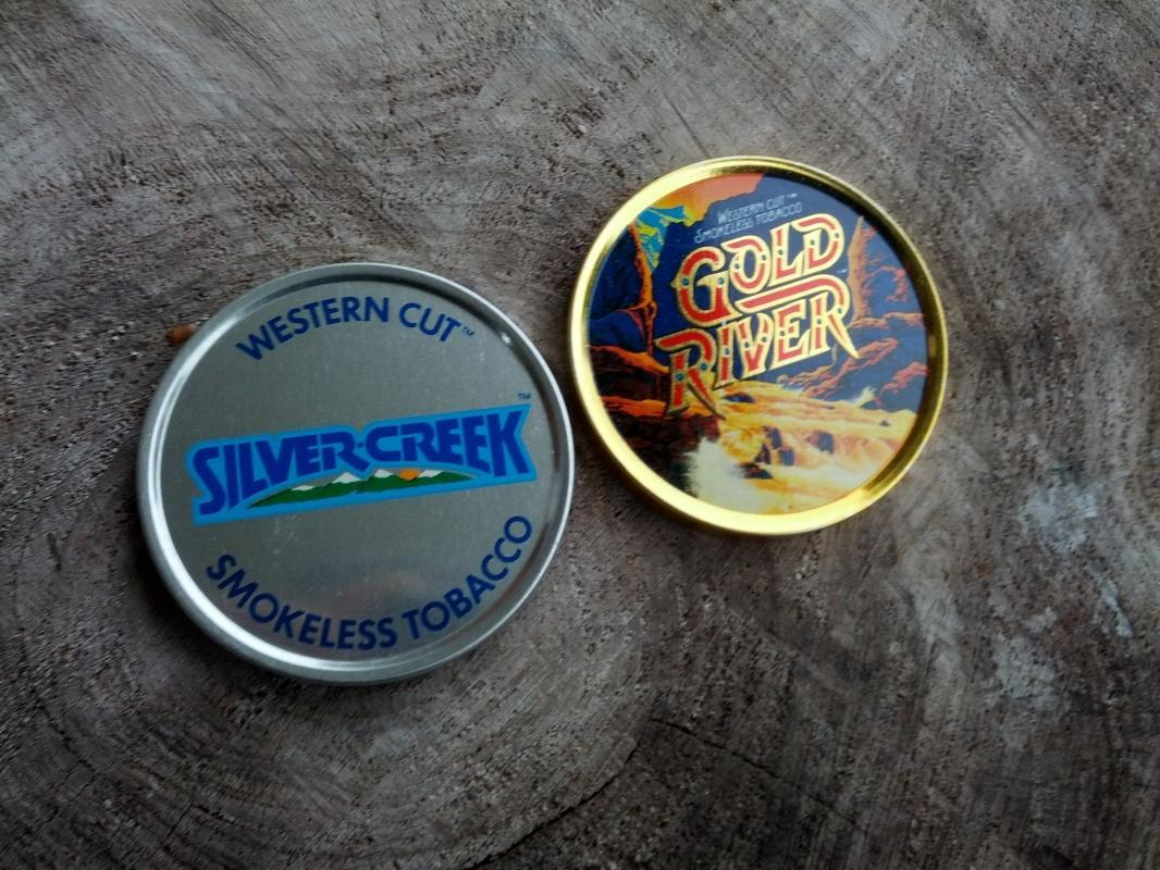 SNUFF SMOKELESS TOBACCO LID GOLD RIVER SILVER CREEK WESTERN CUT CHEW ADVERTISING