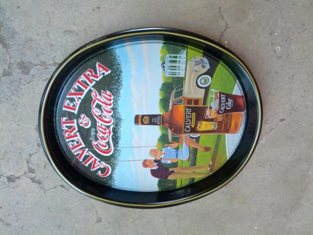 COKE COCA COLA CALVERT WHISKEY ADVERTISING TRAY PAINTED TIN SERVING PLATTER