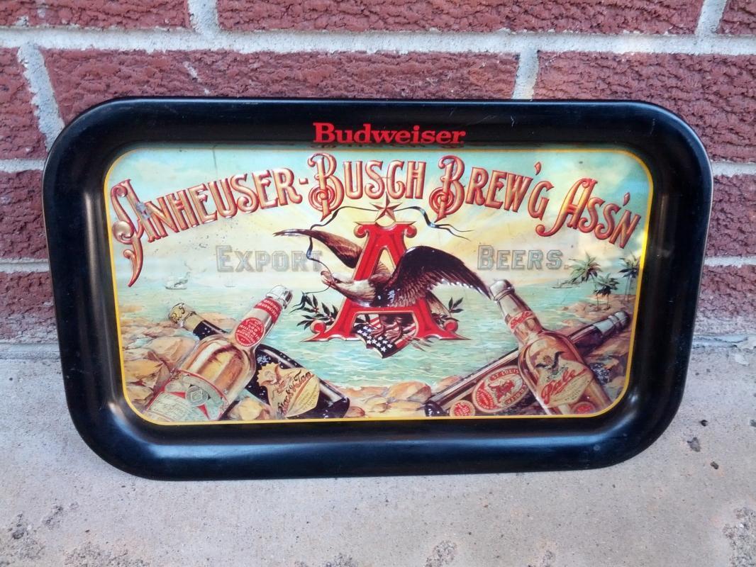BUDWEISER ANHEUSER BUSCH BREWING ASSOCIATION BEER BEVERAGE SERVING TRAY STEEL SOUTH SEAS ADVERTISING PLATTER