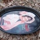 COKE COCA COLA BETTY GIRL VICTORIAN LADY TIN TRAY SOFT DRINK SODA POP ADVERTISING PLATTER