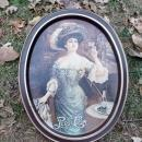 PEPSI COLA VICTORIAN LADY SOFT DRINK ADVERTISING TRAY PAINTED STEEL SERVING PLATTER