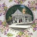 excelsior springs missouri sulpho saline decorative plate victorian gazebo scene flowered dish wheelock vienna austria areade souvenir store kitchen utensil mantel ornament