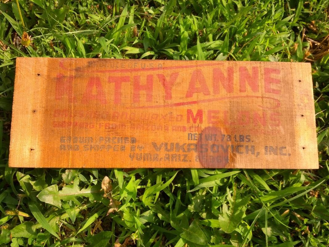 KATHY ANNE MELON CRATE BOARD YUMA ARIZONA VUKASOVICK ADVERTISING WALL DECORATION