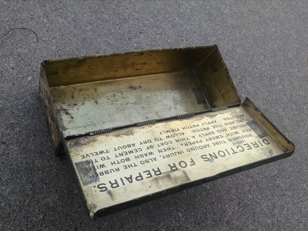 B F Goodrich Akron Ohio advertising tin can repair garage  station canister flip lid style metal box