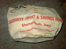 SHENANDOAH IOWA CLOTHES PIN BAG NU STYLE CANVAS SACK TOTE SECURITY TRUST SAVINGS BANK ADVERTISING