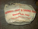 SHENANDOAH IOWA CLOTHES PIN BAG NU STYLE CANVAS SACK TOTE SECURITY TRUST SAVINGS BANK ADVERTISING