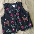 casey coleman wool blend black polyester vest deer floral flower pattern India manufactured ladies garment womens apparel size extra large