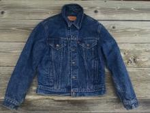 Levi Strauss Denim Jean Jacket Cotton Flannel Lined Light Weight Coat Size Medium Ladies Fashion Garment Apparel