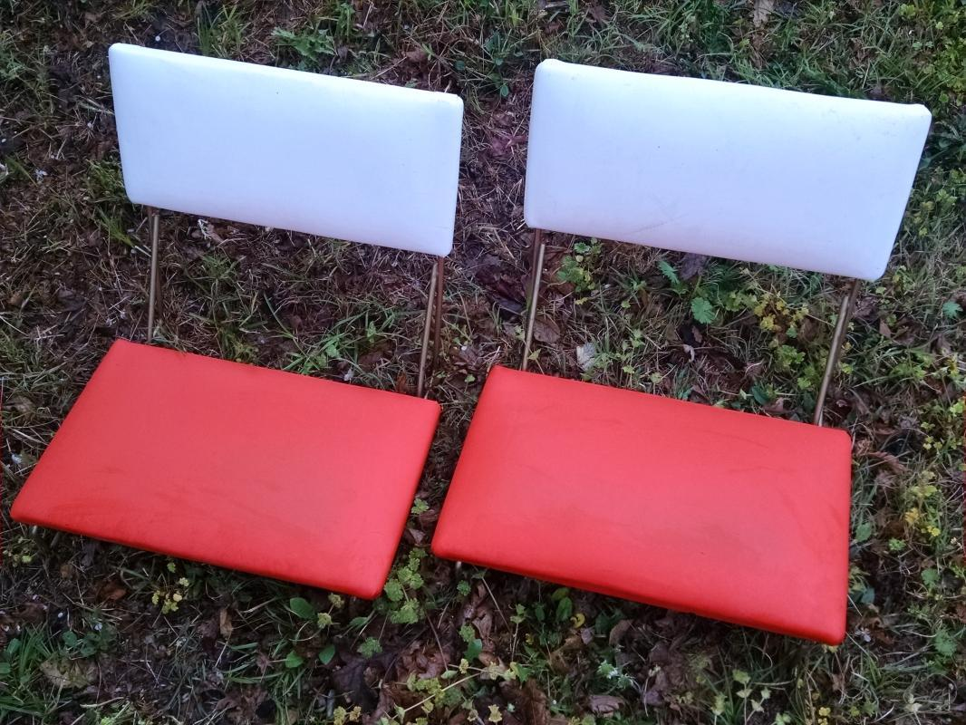 orange white vinyl stadium bleacher seat athletic event portable chair retro bench