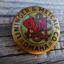 lininger metcalf omaha nebraska advertising button celluloid lapel pin whitehead hoag newark new jersey manufacturer marks union made paper label 1896 patent date