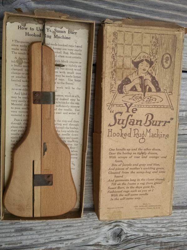 Ye Sufan Susan Burr Hooked Tapestry Rug Making Tool Holley Associates Torrington Connecticut Original Store Box