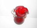 RED CRACKLE GLASS PITCHER FLOWER VASE