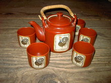 ROOSTER CHICKEN TEAPOT BEVERAGE CUP SET