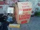CORY BRAND GLASS COFFEE POT HOT BEVERAGE BREWER DRINK MAKING UTENSIL GIANT FOOD CHICAGO ILLINOIS ORIGINAL BOX
