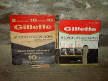 GILLETTE SUPER STAINLESS STEEL RAZOR BLADE SHAVE ACCESSORY STORE ADVERTISING COUNTER DISPLAY CARD FACTORY COVER BOX