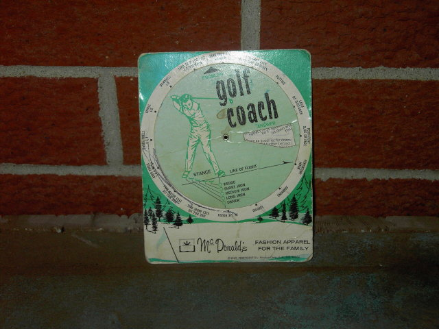 J M MCDONALD GOLF COACH GAME TIP CARD STORE ADVERTISING 1969 CUSTOMER GIVEAWAY PERRYGRAF NASHUA LOS ANGELES CALIFORNIA