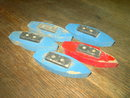 WOODEN BOAT RED BLUE PAINTED CHILDS TOY SHIP BARGE