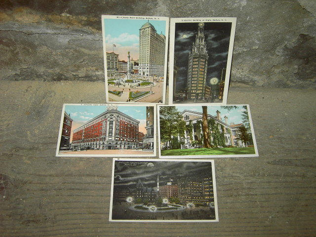 BUFFALO NEW YORK POSTCARD LANDMARK TOURISM PICTURE CARD LAFAYETTE SQUARE HOTEL LIBERTY ELECTRIC BUILDINGS WILCOX RESIDENCE