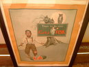 FISK AUTOMOBILE TIRE BLACK MAN WATERMELON 1925 ADVERTISEMENT LEAH THRASHER SIGNED FRAMED PICTURE