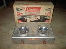 COLEMAN ALUMINUM PICNIC STOVE TWO BURNER CAMPING ACCESSORY ORIGINAL BOX
