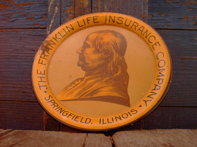 SPRINGFIELD ILLINOIS BEN FRANKLIN LIFE INSURANCE TRAY COASTER PLATE