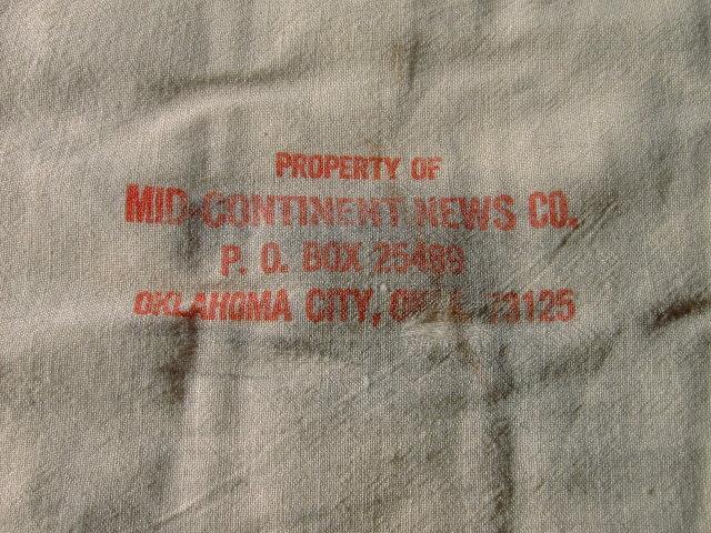 OKLAHOMA CITY MID CONTINENT NEWS BAG COTTON NEWSPAPER SACK