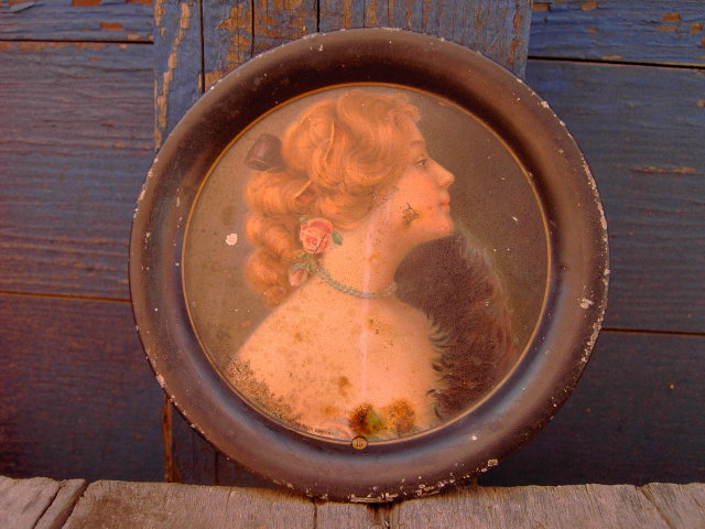VICTORIAN LADY COASTER TRAY MEEK COMPANY 1907 TIPTON KANSAS C K ROSS ADVERTISING SMALL TIN PLATE TRAY