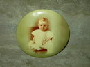 CELLULOID BABY PICTURE BUTTON VICTORIAN CHILD PORTRAIT