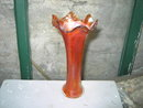 ORANGE LUSTER CARNIVAL GLASS BUD VASE ART DECO CENTERPIECE