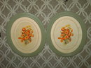 OVAL GREEN PAINTED FRAME FLOWER PRINT PICTURES