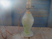 GLASS LAMP GREEN SPATTER PAINT LIGHT FIXTURE
