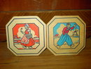 JACK SPRAT STORES DUTCH GIRL BOY HOTPAD TRIVET AINSWORTH BASSETT NEBRASKA ADVERTISING NEWTON IOWA VERNON COMPANY