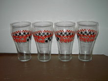COKE GLASS TUMBLERS RED BLACK CHECKERBOARD AUTO RACING STYLE