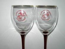 MARINE CORPS RED WINE GLASS 212 BIRTHDAY CELEBRATION STEMS