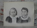 VICTORIAN GIRLS CHALK CHARCOAL DRAWING ART PICTURE