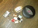 AUSTRIA GERMANY TRAVEL SEWING KIT WOODEN THREAD SPOOLS SCISSORS NEEDLE BOOK MEASURE SAFETY PINS PLASTIC THIMBLE