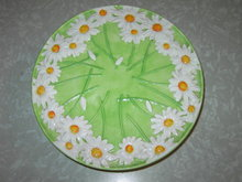 DAISY FLOWER PATTERN DESSERT  CAKE DISPLAY  STAND FOOTED PIE PLATE