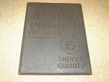 BAKERS BRAND BAKING POWDER SIGN GALVANIZED STEEL DRY GOODS ADVERTISING WALL DECORATION