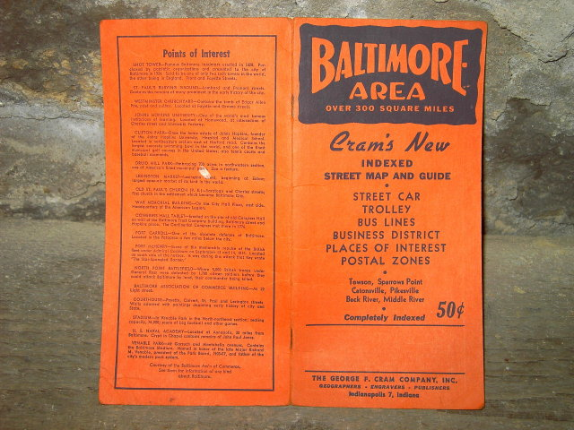 BALTIMORE MARYLAND STREET GUIDE CRAM COMPANY INDIANAPOLIS INDIANA