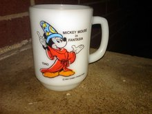 WALT DISNEY MICKEY MOUSE FANTASIA MUG ANCHOR HOCKING HANDLED CUP