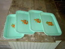 JADE GREEN SNACK TRAY SERVING PLATE KITCHEN UTENSIL FRUIT DECAL PLATTER