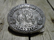 HESSTON NATIONAL FINALS RODEO 1989 BELT BUCKLE FRED FELLOWS AWARD DESIGN MEDALS NOBLE OKLAHOMA