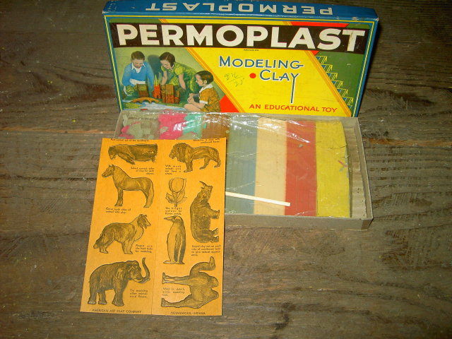 PERMOPLAST MODELING CLAY ORIGINAL BOX AMERICAN ART CLAY INDIANAPOLIS INDIANA