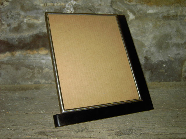 ART DECO PICTURE FRAME BLACK PAINTED WOOD SILVER TONE METAL BORDERS