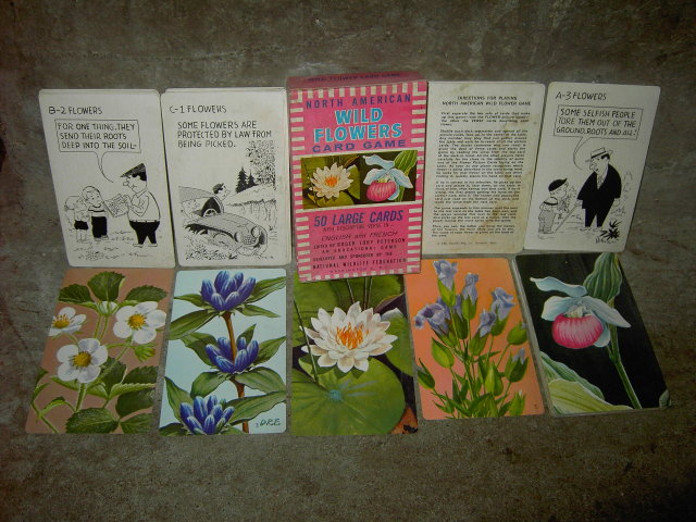 WILD FLOWER CARD GAME LEICESTER MASSACHUSETTS RUSSELL COMPANY NATIONAL WILDLIFE FEDERATION WASHINGTON D C