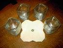DEPRESSION GLASS CANNISTER JARS LAZY SUSAN SPINNING TRAY REVOLVING SERVER
