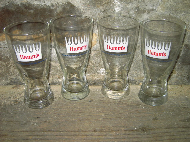 HAMMS BEER GLASS LAND SKY BLUE WATER TUMBLER LIBBEY OWENS ILLINOIS TOLEDO OHIO