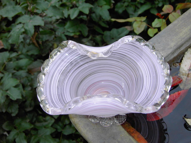 ITALY MURANO LAVENDER BASKET CANDY DISH PURPLE WHITE BOWL