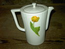 YELLOW TULIP COFFEE POT ART DECO BEVERAGE PITCHER ENTERPRISE ALUMINUM MASSILLON OHIO DRIP O LATOR